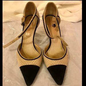 CHANEL Cream & Black Satin Heels